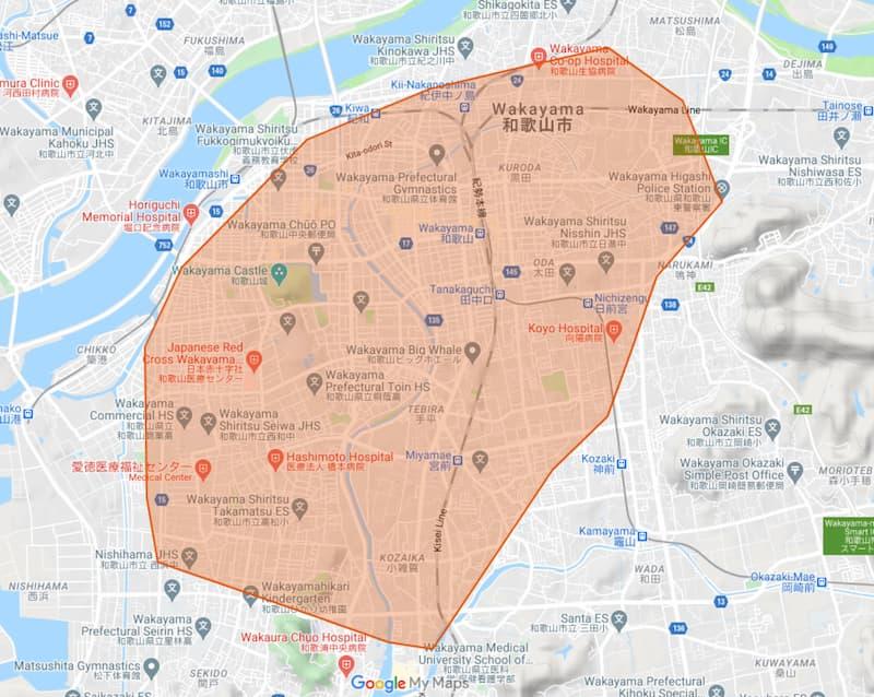 和歌山市に上陸!Uber Eats(ウーバーイーツ)和歌山エリアの配達地域と注文範囲【エリア拡大中!】